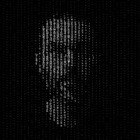 Man portrait, matrix concept illustration