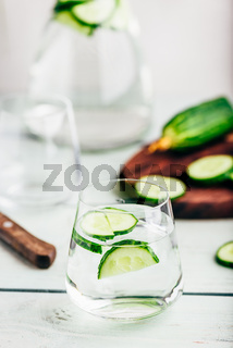 Detox water with sliced cucumber