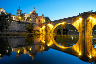 Amarante church view with Sao Goncalo bridge at night, in Portugal