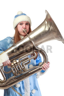 funny santa girl playing trumpet