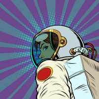 Following me, a female astronaut leads forward to the future