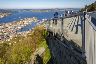 Mirador de Floyen viewpoint in the city of Bergen, Norway