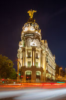 Metropolis Building in the City of Madrid at night