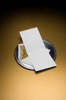 Blank Invitation with envelop on silver tray
