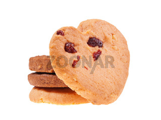 Cookies with cranberry isolated on white background