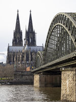 Cologne Cathedral and Hohenzollern Bridge at River Rhine - Köln