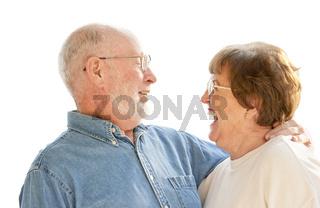 Happy Senior Couple Laughing on White