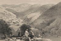 The third descent through the Siri-Kajaur Pass, Baluchistan, Pakistan, First Anglo-Afghan War, sketch by James Atkinson, 1840