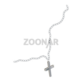 Religious orthodox silver cross on a chain isolated on white. The chain is torn. Vector EPS10.