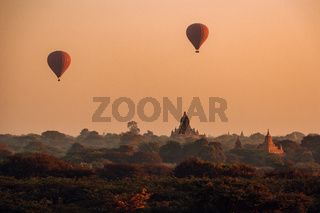 Bagan Myanmar, Pagodas and temples of Bagan, in Myanmar, formerly Burma, a world heritage site during sunrise