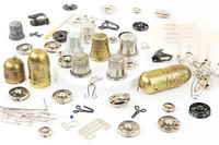 Various metal tools for hand sewing