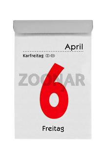 Abreißkalender zeigt Karfreitag