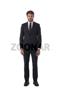 Young business man portrait on white