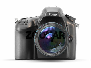 Digital photo camera on white isolated background.