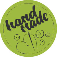 round HANDMADE logo or label with needle and heart shaped thread