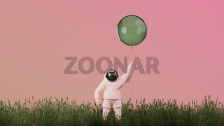 3D illustration, 3D rendering. Cartoon astronaut with red balloon.