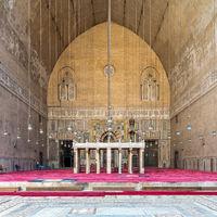 Monumental main Iwan of Mamluk era historical public Mosque and Madrasa of Sultan Hassan, Cairo, Egypt