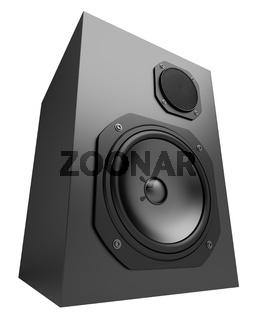 single black audio speaker isolated on white background