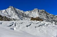 Mischabelhörner mit den Gipfeln Täschhorn, Dom und Lenzspitze, Saas-Fee, Wallis, Schweiz