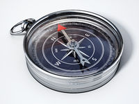Vintage compass with black gauge isolated on white background. 3D illustration
