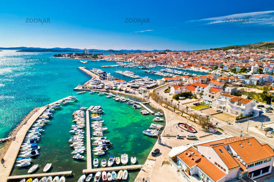 Adriatic town of Vodice waterfront aerial view