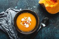 Pumpkin cream soup top view