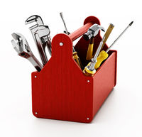 Red wooden toolbox with various hand tools isolated on white background. 3D illustration