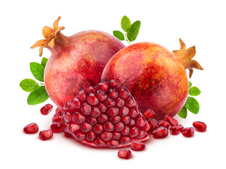 Pomegranate isolated on white background with clipping path