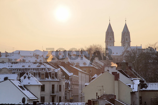 Old town of Wiesbaden at winter time
