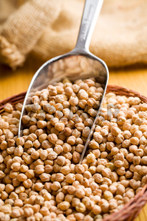 chickpeas in metal scoop