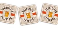 White Background Beer Coasters Froehlichen Vatertag
