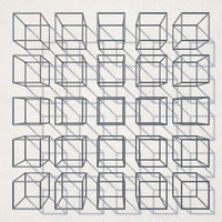 Metal cubes on white walls 3D