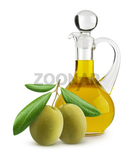 Bottle of extra virgin olive oil and green olives isolated on white background