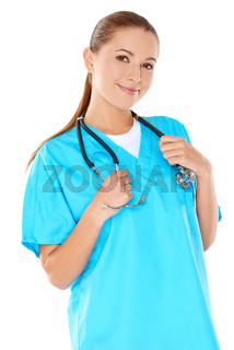 Friendly confident female doctor