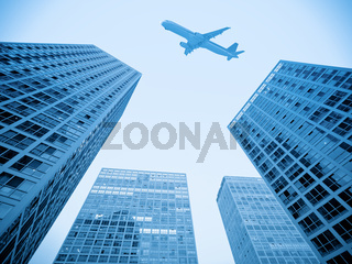 airplane and modern building