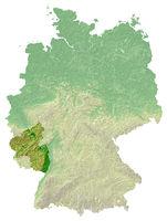 Rheinland-Pfalz - topografische Relief Karte DE