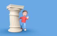 Kid behind a Funny Ancient Column. 3D Cartoon Character on Blue with Copy Space