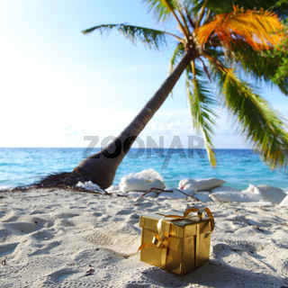 golden gift on ocean beach