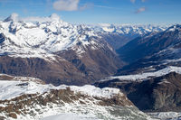 View from Klein Matterhorn in the Swiss Alps