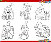 set of comic cats with Christmas gifts coloring book page