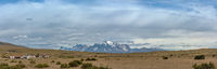 Panoramic view of the peaks of Torres del Paine National Park, Chile