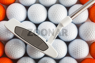 Golf putter and balls