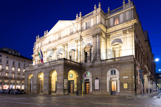 Theatre La Scala in Milan, Italy, by night. One of the most famous Italian buildings - 1778.
