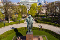 Kiev. Ukraine. April 18 2019. Monument Taras Shevchenko. Aerial view.