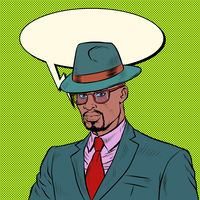 elegant retro african businessman Stylish man in a suit and hat