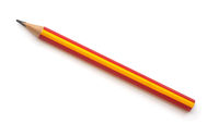 Top view of single red graphite pencil
