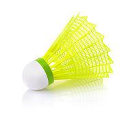Yellow plastic badminton shuttlecock