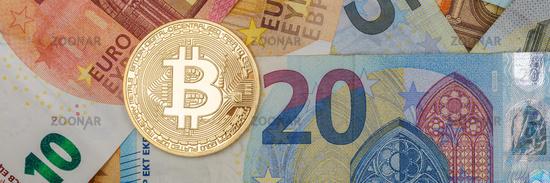 Bitcoin Krypto Währung online bezahlen digital Geld Kryptowährung Euro Wirtschaft Finanzen Textfreiraum Copyspace Banner