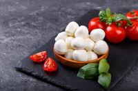Mozzarella cheese, basil and tomato cherry