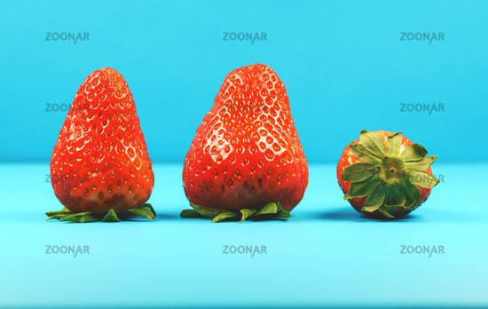 Close up of three fresh red strawberries as a symbol for summer and happiness